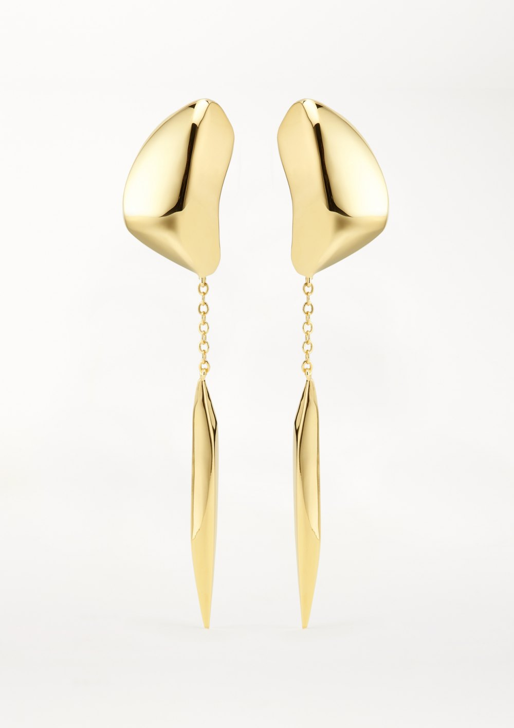 statement earrings Mercury drop Earring  with long chain sculptured pendant in gold washed stone nr 01 xeniabous