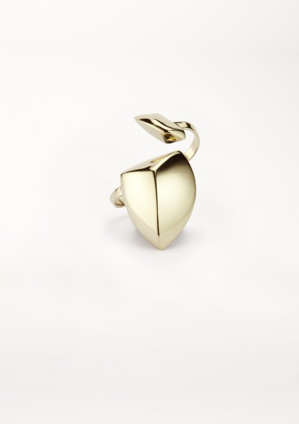 xenia bous jewellery Golden Stone 22 Big Double Ring gold silver