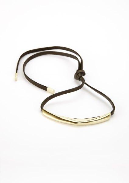 xenia bous schmuck Golden Stone 29 Halsband gold silber schwarz weiß nappa leder
