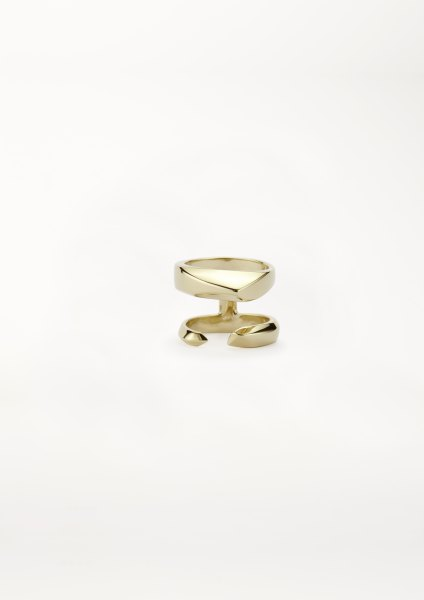xenia bous jewellery Golden Stone 23 Small Double Ring gold silver